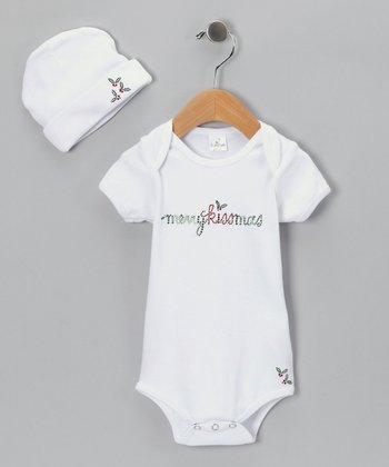 White 'Merry Kissmas' Bodysuit & Beanie - Infant