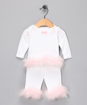 White Marabou Tee & Pants - Infant