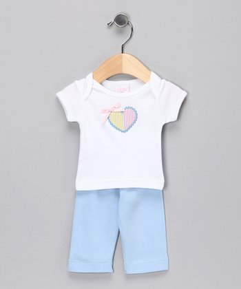 White & Blue Heart Tee & Pants - Infant