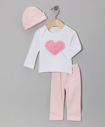 Pink Rose Heart Lap Neck Tee Set
