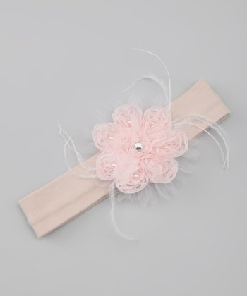 Pink & Taupe Gem Flower Headband