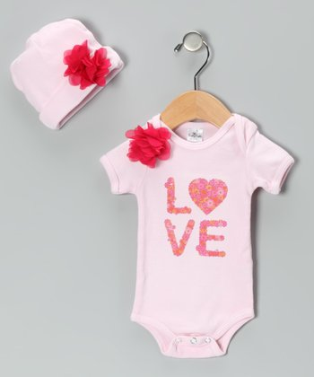 Pink Floral 'Love' Bodysuit & Beanie - Infant