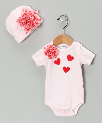 Pink Flower Heart Bodysuit & Beanie - Infant