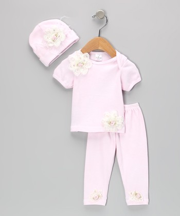 White & Pink Flower Lap Neck Tee Set - Infant