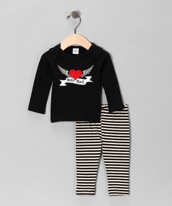 Black & White 'Baby Rock' Tee & Stripe Pants - Infant