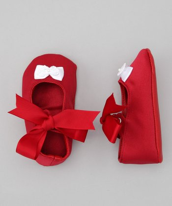 Red Lace Bow Satin Shoe