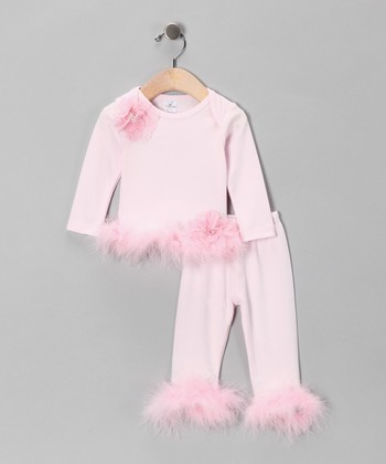Pink Roselle Marabou Tee & Pants - Infant