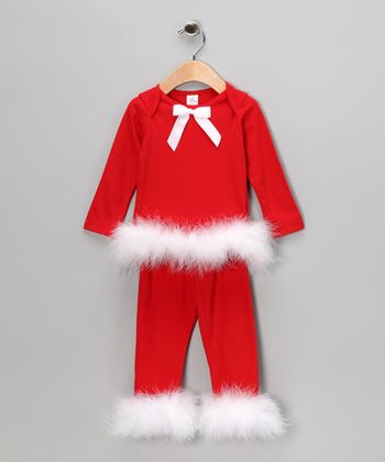 Red Marabou Bow Tee & Pants - Infant