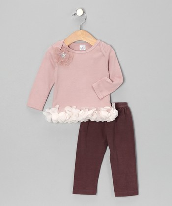 Mauve Bella Petal Tunic & Brown Leggings