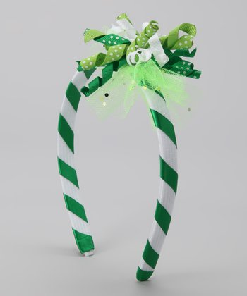TuTu Fabulous Green Stripe Lucky Girl Korker Headband