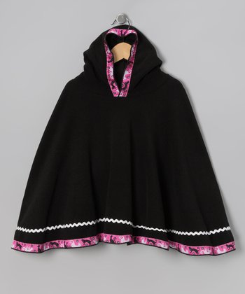 Black Kitty Cat Poncho - Toddler & Girls