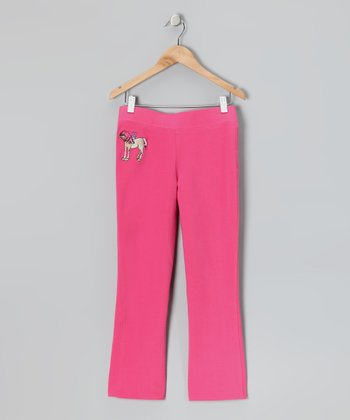 Hot Pink Pony Girl Bootcut Warm-Up Pants - Girls