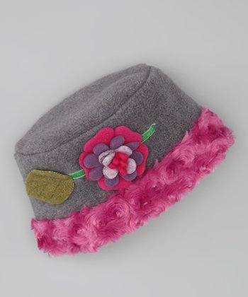 Gray Gigi Flower Ruffle Beanie - Kids