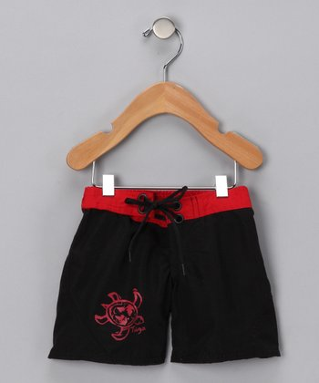 Black & Red Boardshorts - Infant, Toddler & Boys