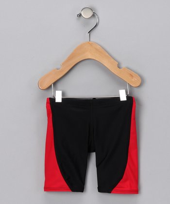 Red & Black Jammer Shorts - Infant, Toddler & Boys