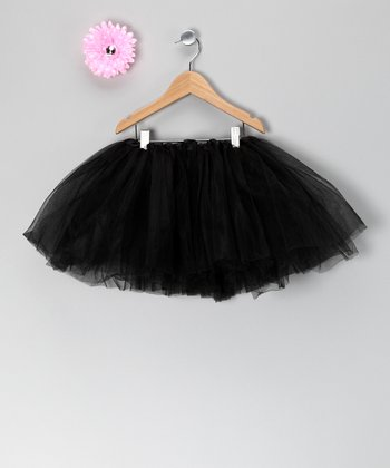 Black Tutu & Pink Flower Clip - Toddler & Girls
