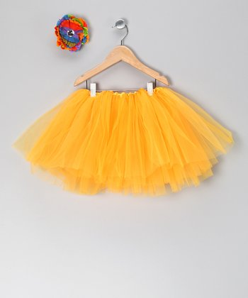 Orange Tutu & Rainbow Flower Clip - Toddler & Girls