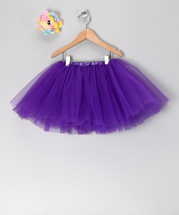 Purple Tutu & Pastel Flower Clip - Toddler & Girls