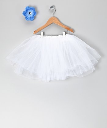 White Tutu & Blue Flower Clip - Toddler & Girls