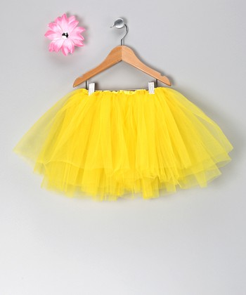 Yellow Tutu & Pink Flower Clip - Toddler & Girls