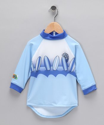 Blue Surfboard Rashguard - Boys