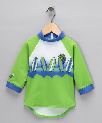 Green Surfboard Rashguard - Toddler & Boys