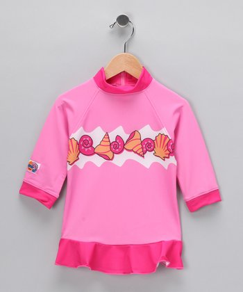 Pink Shell Rashguard - Toddler & Girls