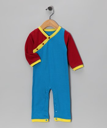 Blue & Red Tiger Raja Playsuit - Infant