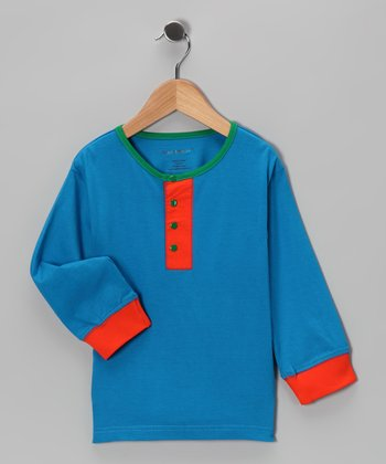 Blue & Orange Kurta Henley - Infant & Toddler