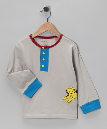 Gray & Blue Tiger Kurta Henley - Infant & Toddler