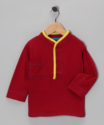 Maroon & Yellow Tandoor Henley - Infant & Toddler