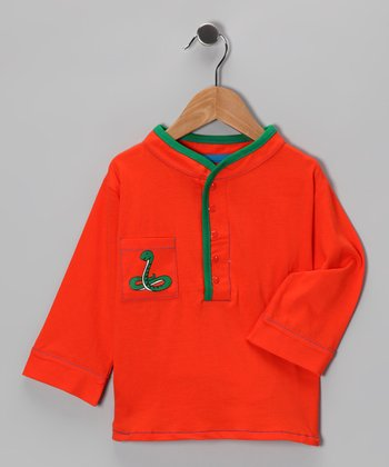Orange & Green Snake Tandoor Henley - Infant & Toddler
