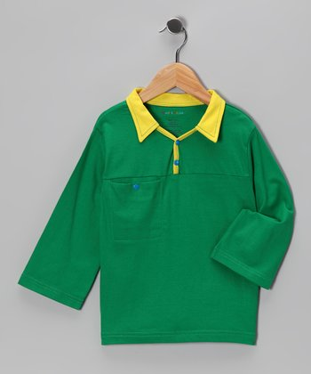 Green & Yellow Long-Sleeve Polo - Infant & Toddler