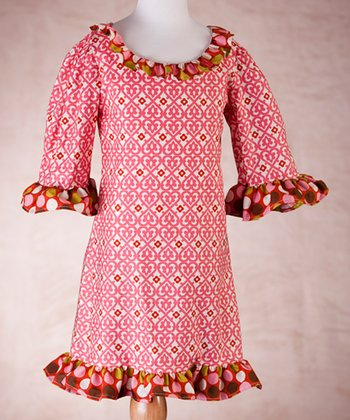 Pink & Brown Polka Dot Dress - Toddler & Girls