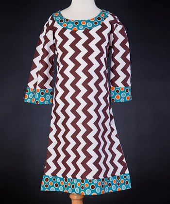 White & Brown Chevron Dress - Girls