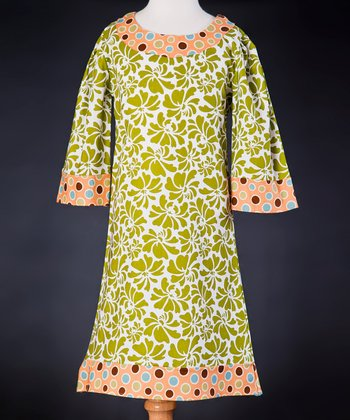 Green Floral Dress - Girls