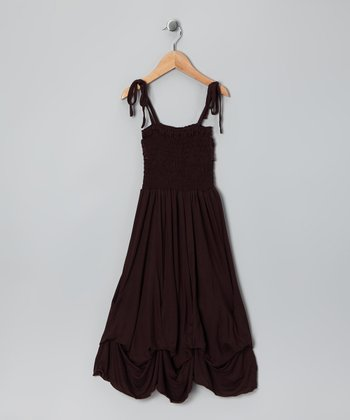 Dark Brown Jersey Shirred Infinity Dress