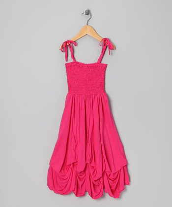Dark Pink Smocked Jersey Infinity Dress