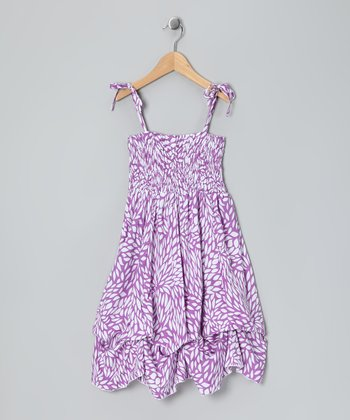 Lavender Leaf Smocked Jersey Infinity Dress