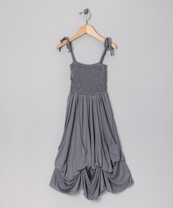 Light Gray Smocked Jersey Infinity Dress