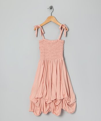 Light Pink Smocked Jersey Infinity Dress