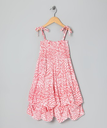 Peach Leaf Smocked Jersey Infinity Dress