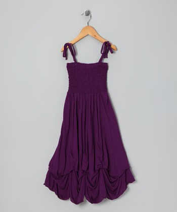 Purple Smocked Jersey Infinity Dress