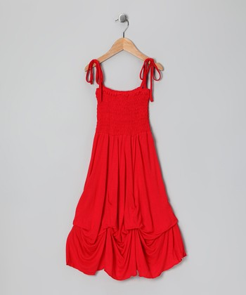 Red Smocked Jersey Infinity Dress