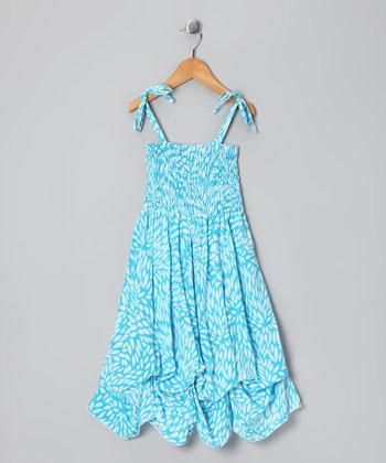 Turquoise Leaf Smocked Jersey Infinity Dress