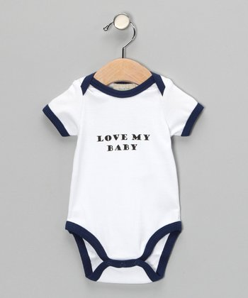 White & Blue 'Love My Baby' Organic Bodysuit - Infant