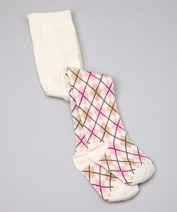 Cream Argyle Organic Tights - Infant