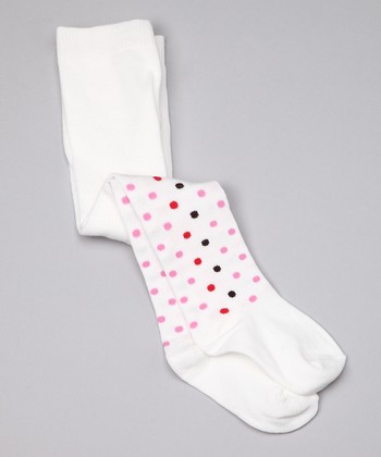 White Polka Dot Organic Tights - Infant