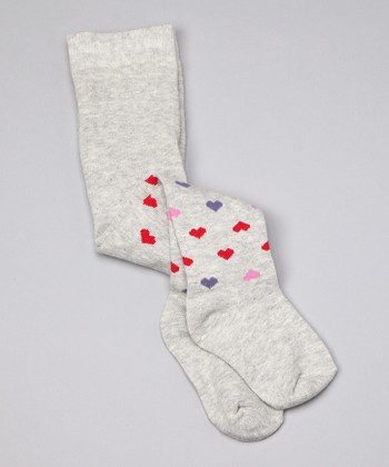 Gray Heart Organic Tights - Infant