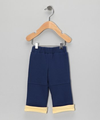 Dark Blue & Yellow Organic Slub Pants - Infant